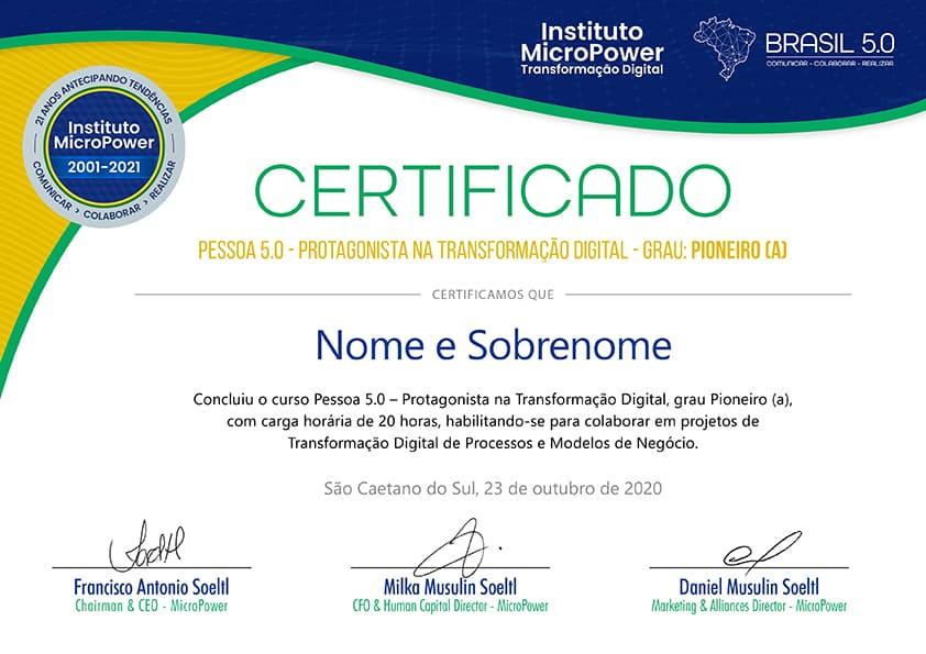 Certificado - Pioneiro