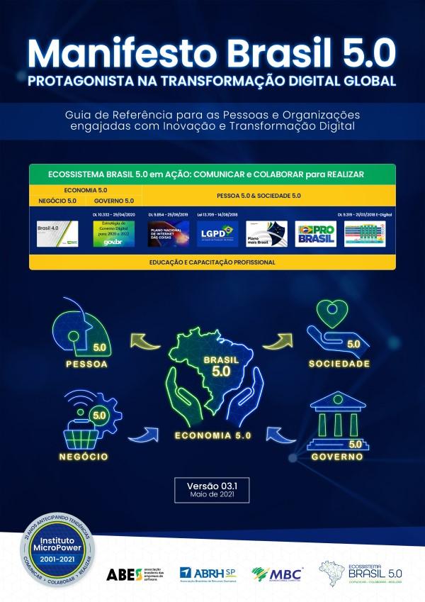 Capa do eBook – Manifesto Brasil 5.0 – Protagonista na Transformação Digital Global – V03.1