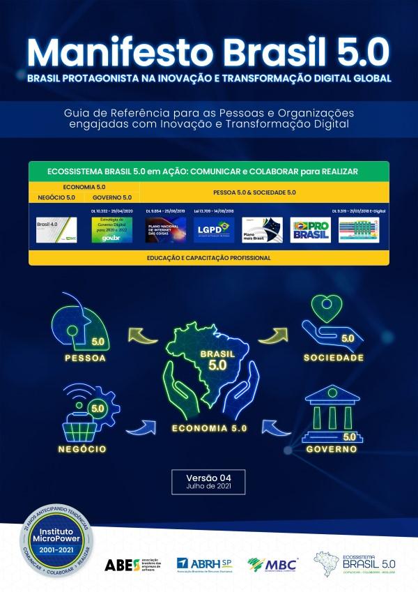 Capa do eBook – Manifesto Brasil 5.0 – Protagonista na Transformação Digital Global – V04